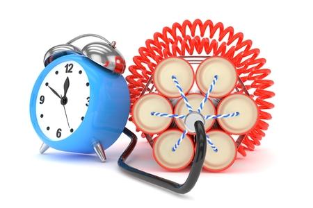 dinamita: reloj despertador con dinamita. representación 3D.