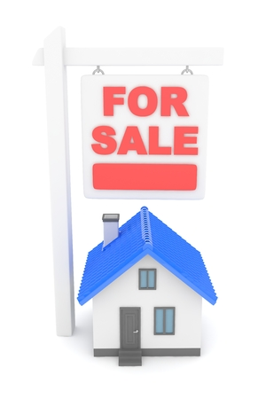 Isolated model of house with for sale sign on white background. Good investment in real estate. Buy new apartment. 3D rendering.