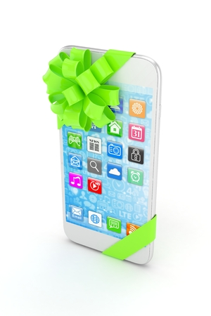 green bow: White phone with green bow and icons. 3D rendering.