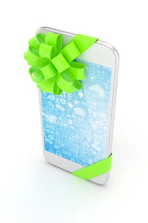 blue screen: White phone with green bow and blue screen. 3D rendering.
