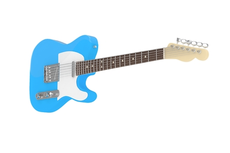 Isolated blue electric guitar on white background. 3D rendering. Stock Photo