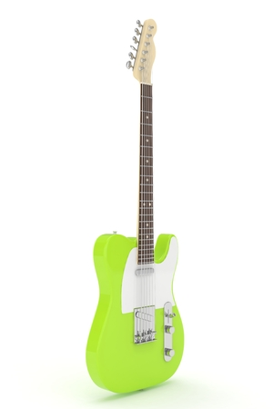 Isolated green electric guitar on white background. 3D rendering.