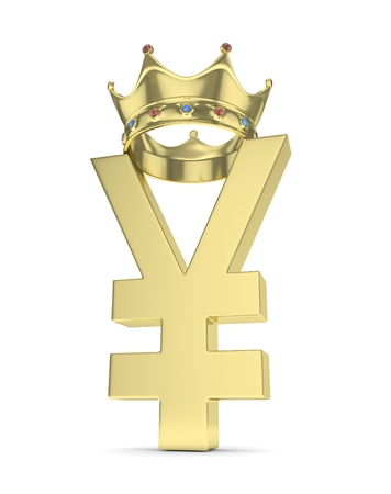 yuan: Isolated golden yen yuan sign with golden crown on white background. Chinese japanese currency. 3D rendering.