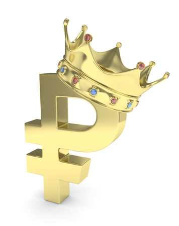 rouble: Isolated golden ruble sign with golden crown and gems on white background. 3D rendering.