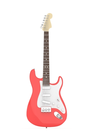 Isolated red electric guitar on white background.  3D rendering. Stock Photo