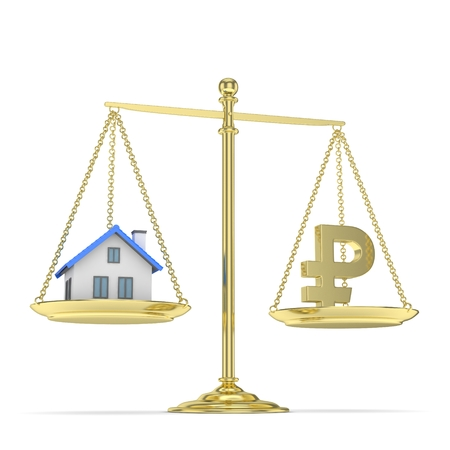 Isolated old fashioned pan scale with ruble and house on white background. Real estate vs russian currency. Affordable house. 3D rendering. Stock Photo