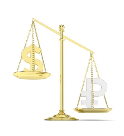 rouble: Isolated old fashioned pan scale with dollar and ruble on white background. American and russian currency. Ruble is heavier. Silver rouble, golden usd. 3D rendering. Stock Photo