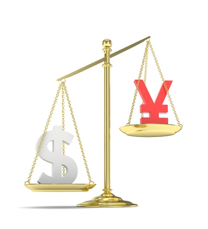 Isolated old fashioned pan scale with dollar and yuan,yen on white background. American and chinese and japanese currency. Dollar is heavier. Silver usd, red yuan. 3D rendering.