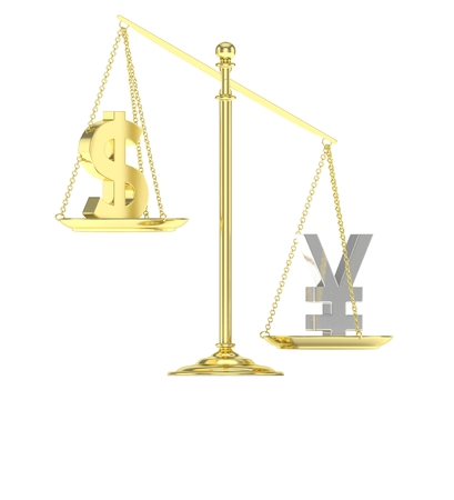 heavier: Isolated old fashioned pan scale with dollar and yuan,yen on white background. American and chinese and japanese currency. Yuan is heavier. Silver yuan, golden usd. 3D rendering.