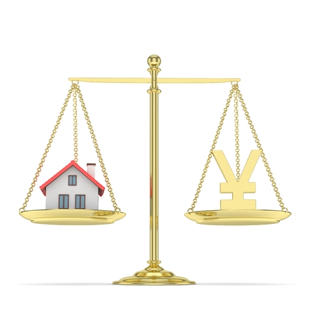 property of china: Isolated golden scales with golden yuan and house on white background. Investment or savings concept. Real estate and currency. 3D rendering.