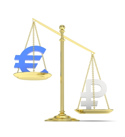 global rates: Isolated golden scales with blue euro and silver ruble currency. Russian and european finance. Measuring of market stability. 3D rendering. Stock Photo