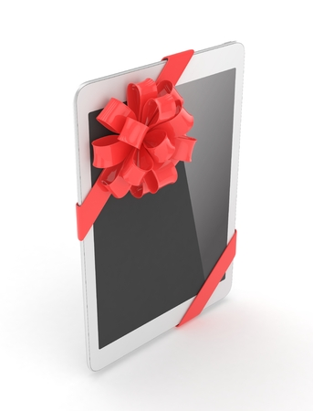 White tablet with red bow. 3D rendering. Stock Photo