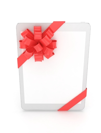 White tablet with red bow and empty screen. 3D rendering.