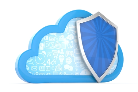 firewall: cloud and shield, cloud security concept. 3d rendering. Stock Photo