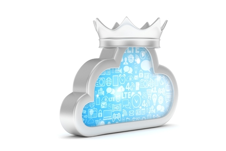 Isolated chrome cloud icon with crown on white background. Symbol of communication, network and technology. Broadband. Online database. 3D rendering.