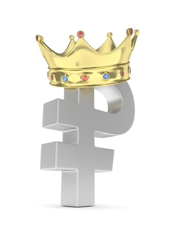 rouble: Isolated silver ruble sign with golden crown on white background. Russian currency. Concept of investment, russian market, savings. Power, luxury and wealth. Russia, Belarus. 3D rendering.