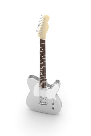 blues: Isolated silver electric guitar on white background.  Musical instrument for rock, blues, metal songs. 3D rendering. Stock Photo