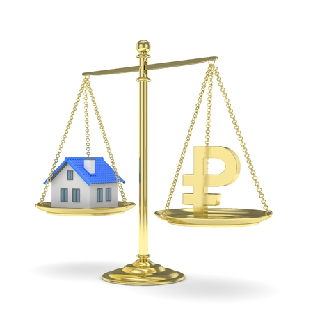 mortgage rates: Isolated old fashioned pan scale with ruble and house on white background. Real estate vs russian currency. Affordable house. 3D rendering. Stock Photo