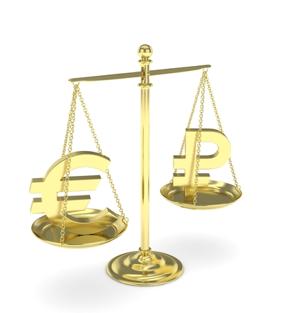 global rates: Isolated golden scales with golden euro and ruble currency. Russian and european finance. Measuring of market stability. 3D rendering. Stock Photo