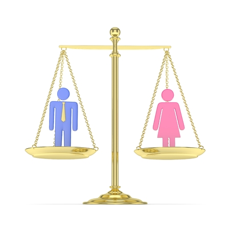 Isolated old fashioned golden pan scale with man and woman on white background. Gender inequality. Equality of sexes. Law issues. Colorful model. 3D rendering.