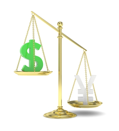 Isolated old fashioned pan scale with dollar and yuan,yen on white background. American and chinese and japanese currency. Yuan is heavier. Silver yuan, green usd. 3D rendering.