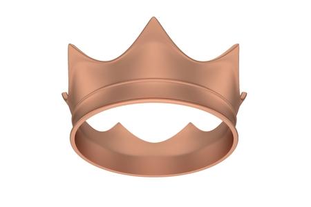 Bronze royal simple crown on white. 3D rendering.