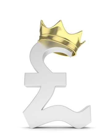 british currency: Isolated silver pound sign with golden crown on white background. British currency. Concept of investment, european market, savings. Power, luxury and wealth. Great Britain, Nothern Ireland. 3D rendering.