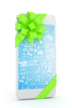 green bow: White phone with green bow and blue screen. 3D rendering.