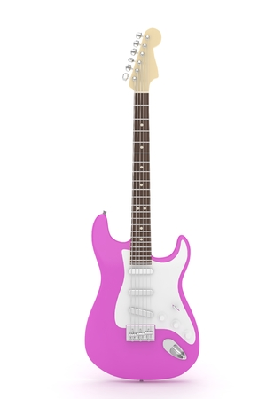 purple metal: Isolated purple electric guitar on white background.  Musical instrument for rock, blues, metal songs. 3D rendering.