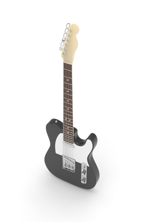 truss: Isolated black electric guitar on white background.  Musical instrument for rock, blues, metal songs. 3D rendering. Stock Photo
