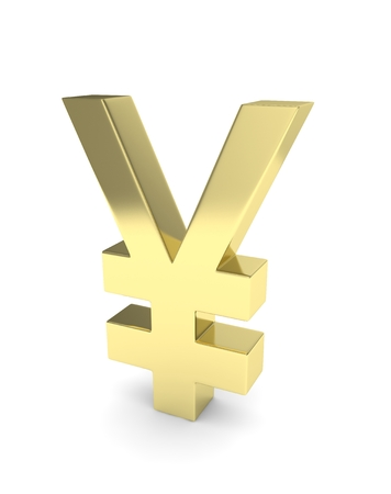 Isolated golden yen yuan sign on white background. Chinese japanese currency. Concept of investment, asian market, savings. Power, luxury and wealth. 3D rendering. Stock Photo