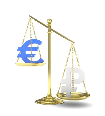 Isolated golden scales with blue euro and silver ruble currency. Russian and european finance. Measuring of market stability. 3D rendering. Stock Photo