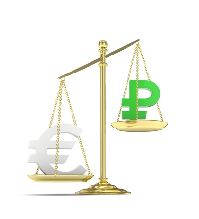 buying stock: Isolated golden scales with silver euro and green ruble currency. Russian and european finance. Measuring of market stability. 3D rendering.