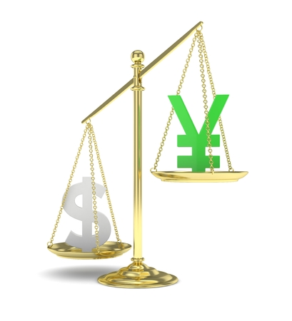 heavier: Isolated old fashioned pan scale with dollar and yuan,yen on white background. American and chinese and japanese currency. Dollar is heavier. Silver usd, green yuan. 3D rendering.