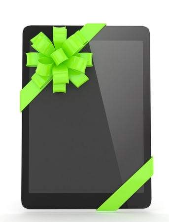 Black tablet with green bow. 3D rendering.