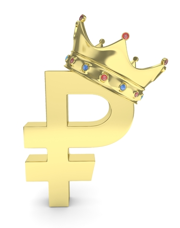 rouble: Isolated golden ruble sign with golden crown and gems on white background. Concept of making profit, income. Currency sign. Russian money. 3D rendering.