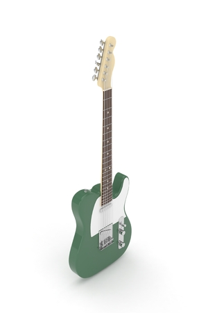 Isolated green electric guitar on white background.  Musical instrument for rock, blues, metal songs. 3D rendering. Stock Photo