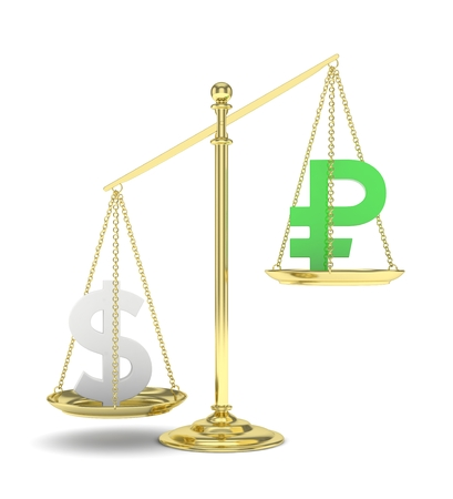 Isolated old fashioned pan scale with dollar and ruble on white background. American and russian currency. Dollar is heavier. Silver usd, green rouble. 3D rendering. Stock Photo