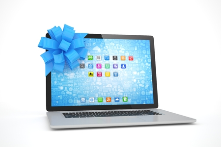 christmas present: Laptop with blue bow and icons. 3D rendering.