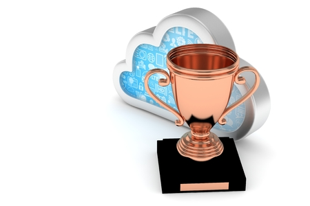 Isoalted bronze cup with cloud on white background. Concept of cloud storage competition. Leader cloud drive. Best storage contest. 3D rendering.