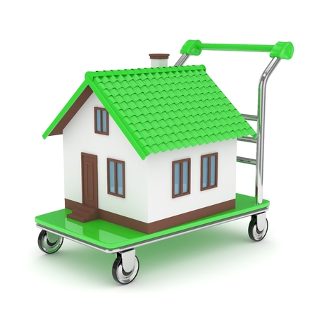 Model of house on wheeled platform on white background. Concept of property moving, delivering. 3D rendering.