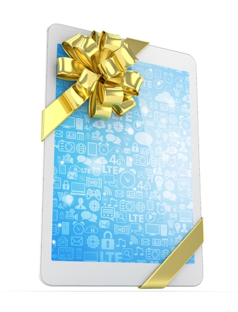 White tablet with golden bow. 3D rendering.