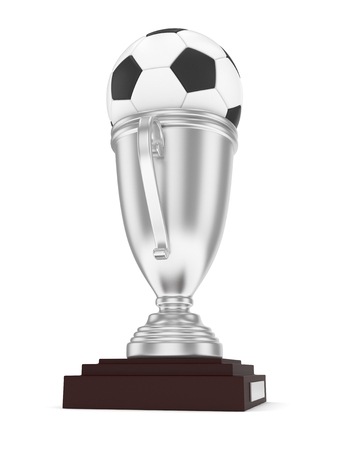 Silver cup and ball on white background. 3D rendering. Stock Photo