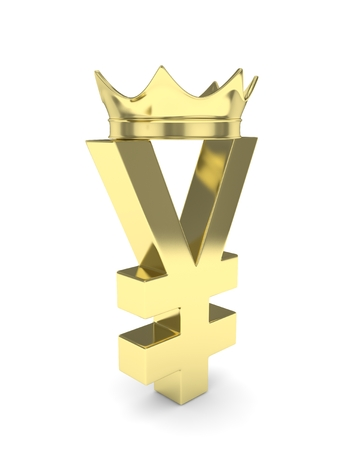 Isolated golden yen yuan sign with golden crown on white background. Chinese japanese currency. Concept of investment, asian market, savings. Power, luxury and wealth. 3D rendering. Stock Photo