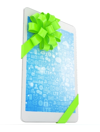 White tablet with green bow and blue screen. 3D rendering.