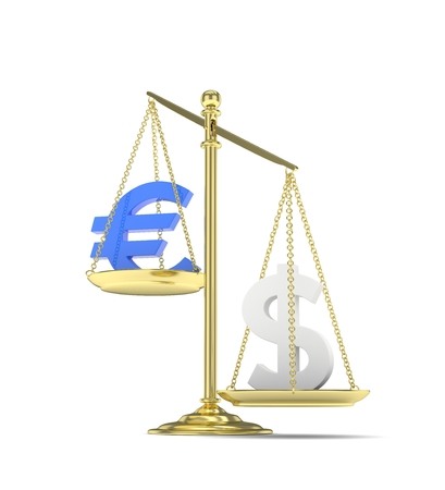 vs: Isolated old fashioned pan scale with dollar and euro on white background. American and european currency. Dollar is heavier. Silver usd, blue euro. 3D rendering.