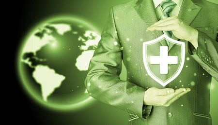 Health protection and insurance. Medical healthcare. Business in health safety. Globe background. World wide insurance.