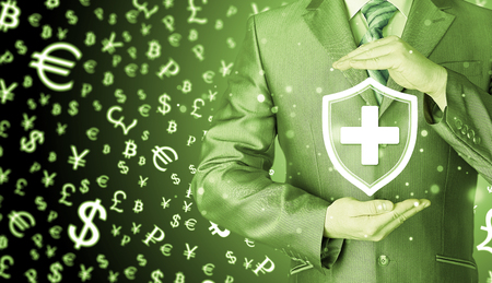 Health protection and insurance. Medical healthcare. Business in health safety. Money background. World currency.