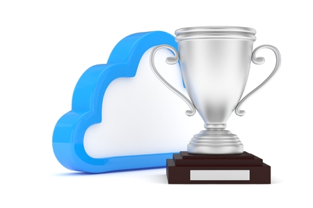 contest: Isoalted silver cup with cloud on white background. Blue contour cloud. Concept of cloud storage competition. Leader cloud drive. Best storage contest. 3D rendering.
