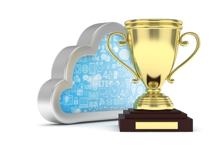 Isoalted golden cup with cloud on white background. Silver contour cloud. Concept of cloud storage competition. Leader cloud drive. Best storage contest. 3D rendering. Stock Photo